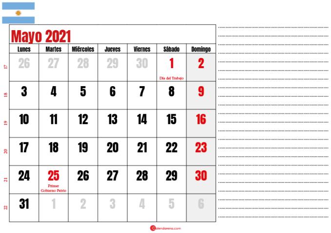 mayo 2021 calendario argentina