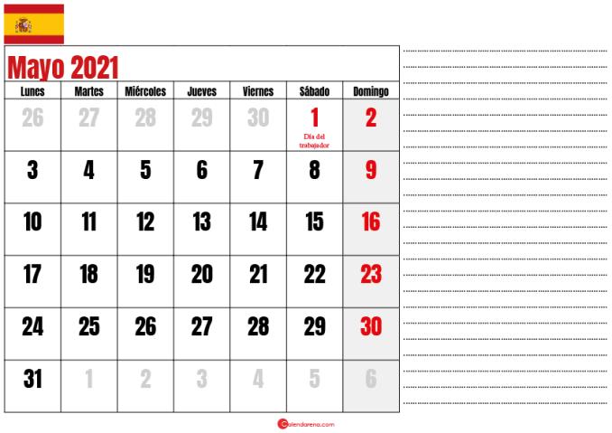 mayo 2021 calendario espana