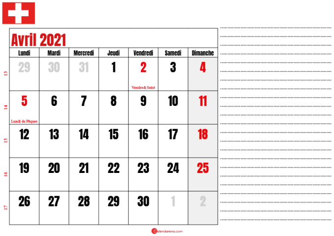 calendrier 2021 avril suisse