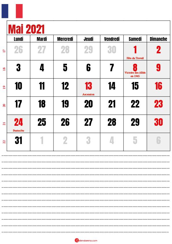 calendrier 2021 mai france