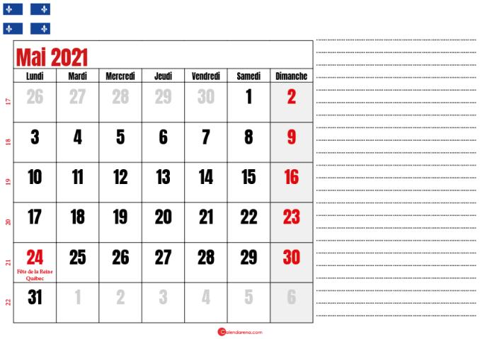 calendrier 2021 mai québec canada
