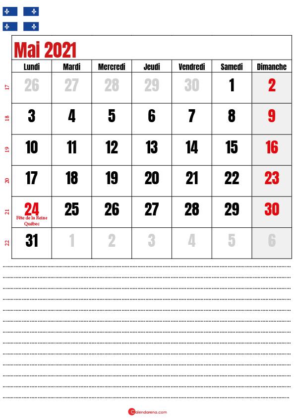 calendrier à imprimer mai 2021 québec canada