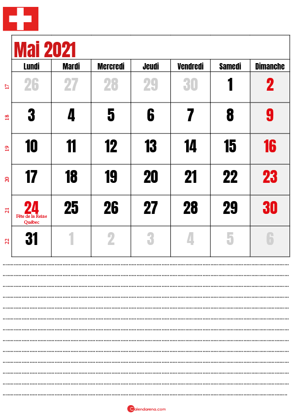 calendrier à imprimer mai 2021 suisse