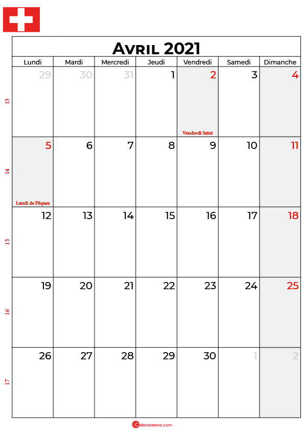 calendrier avril 2021 à imprimer suisse