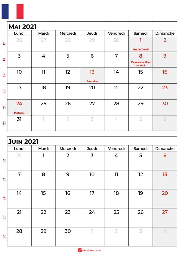 calendrier mai juin 2021 france