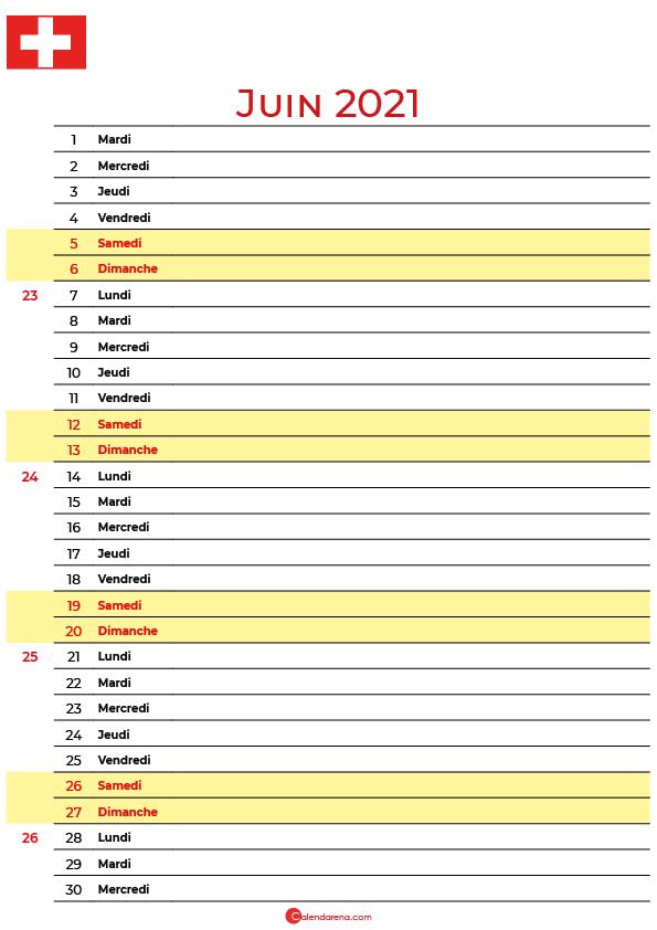 juin 2021 calendrier suisse