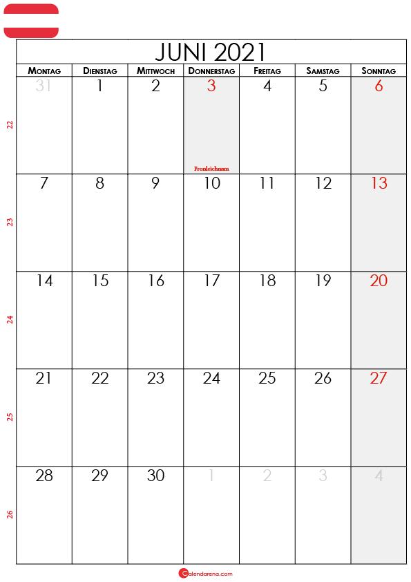 juni 2021 kalender Österreich