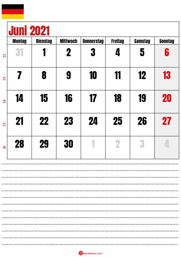 juni kalender 2021 Deutschland