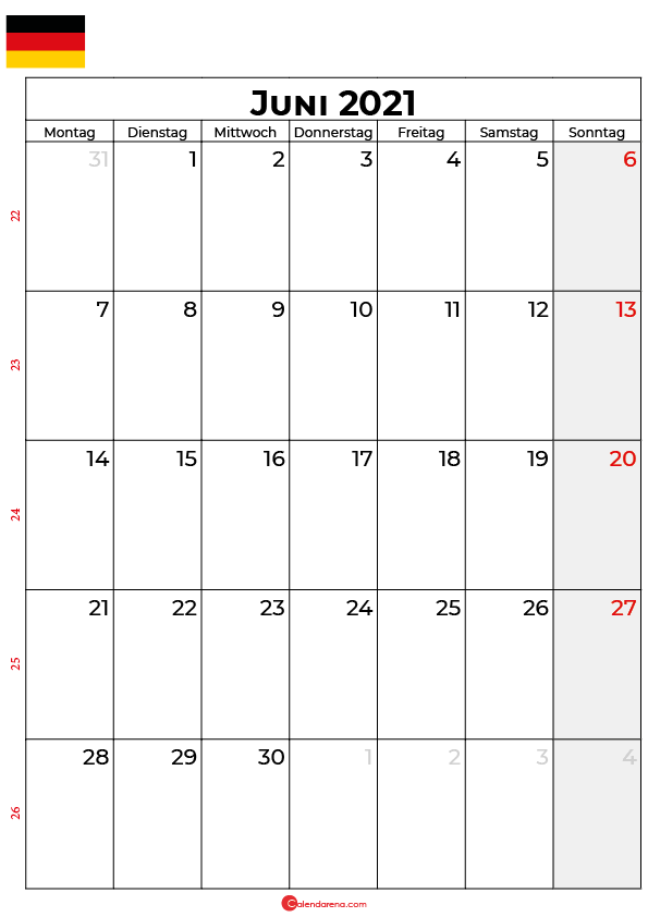 kalender 2021 juni Deutschland