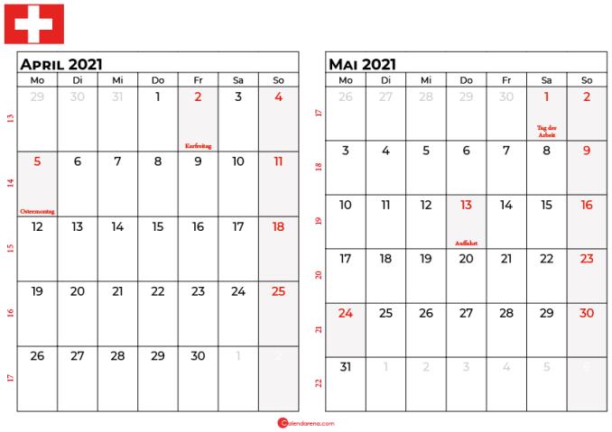 kalender april mai 2021 Schweiz