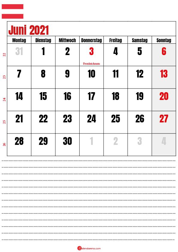 kalender juni 2021 zum ausdrucken Österreich