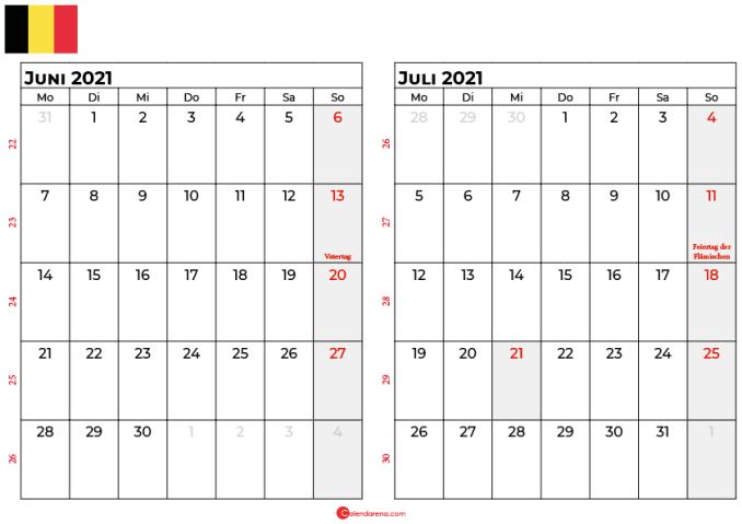 kalender juni juli 2021 Belgien