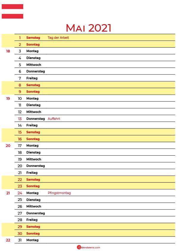 kalender mai 2021 zum ausdrucken Schweiz
