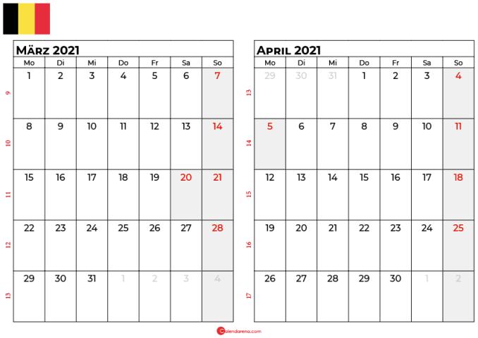 kalender märz april 2021 Belgien