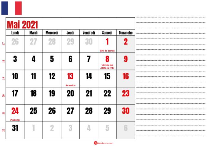 mai calendrier 2021 france