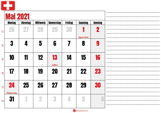 mai kalender 2021 Schweiz