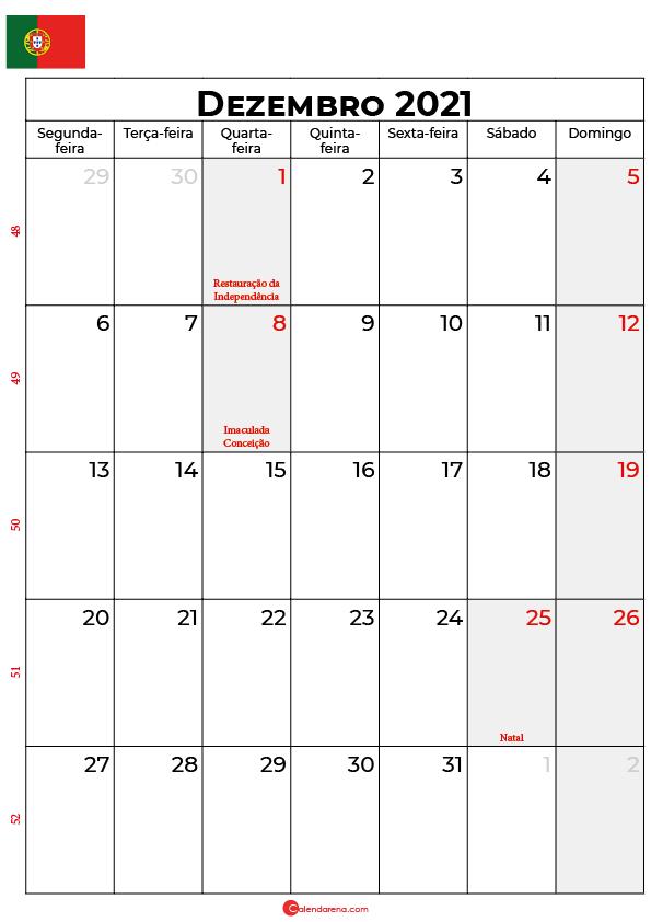 calendário de dezembro de 2021 portugal