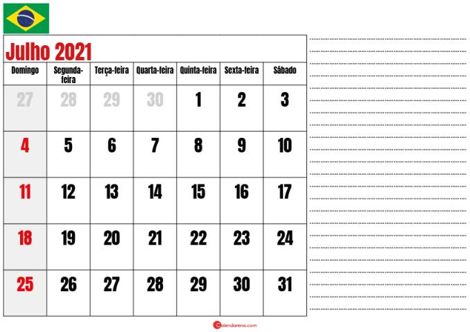 calendario julho 2021 para imprimir brasil