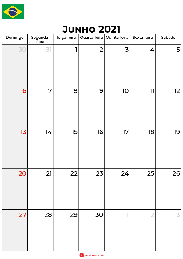 calendário junho 2021 brasil