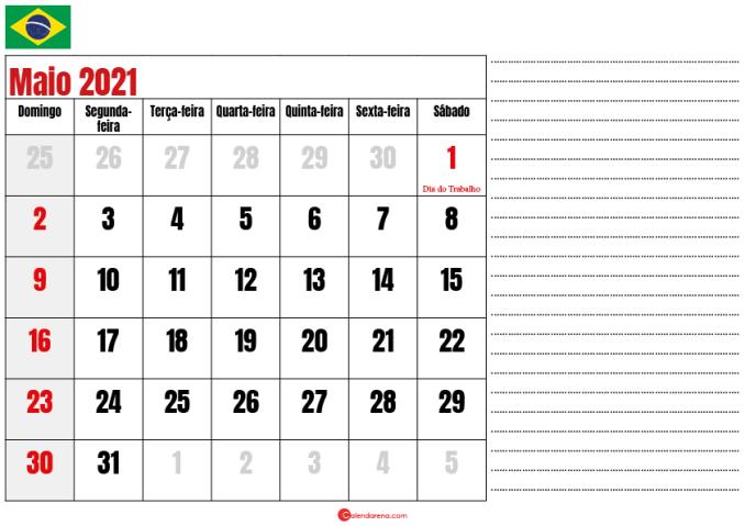 calendario maio 2021 para imprimir brasil