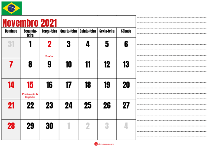 calendario novembro 2021 para imprimir brasil