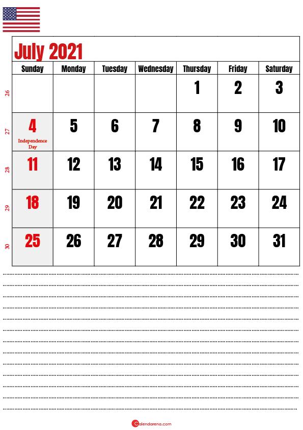 free printable july 2021 calendar with holidays usa