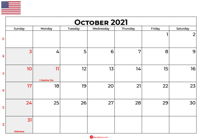 october 2021 calendar usa