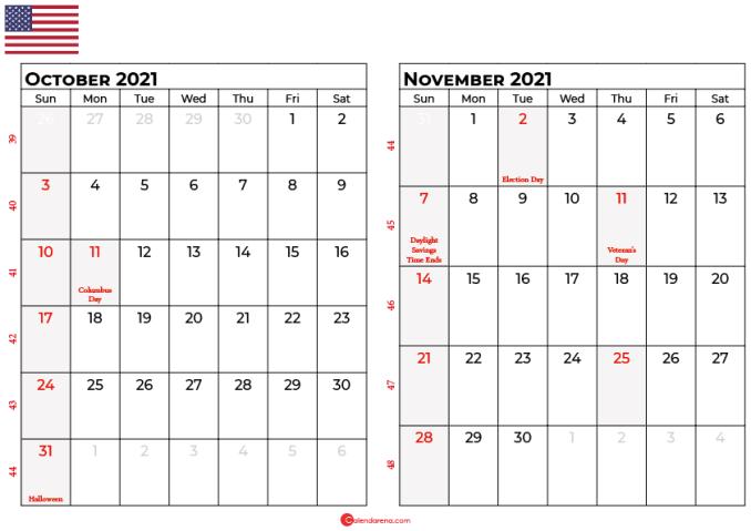 october and november 2021 calendar usa