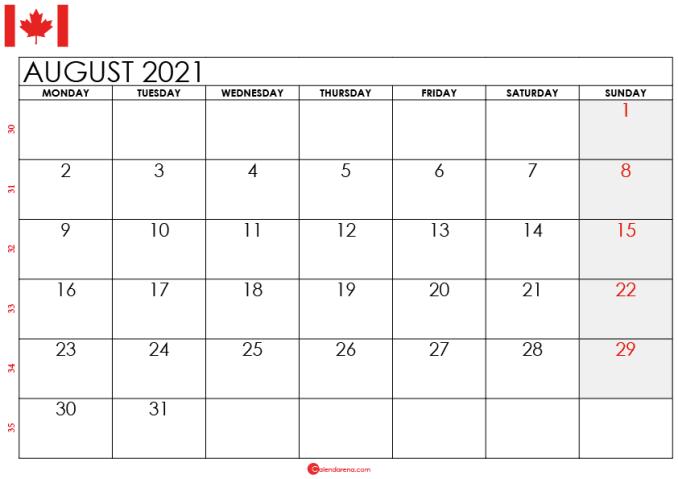 august 2021 calendar ca
