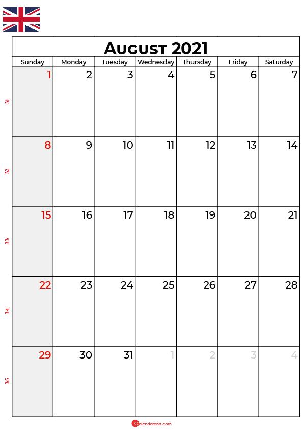 august 2021 calendar uk