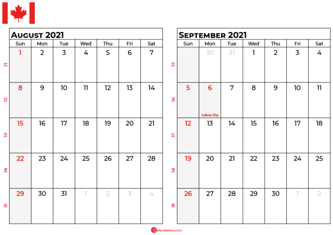 august and september 2021 calendar ca