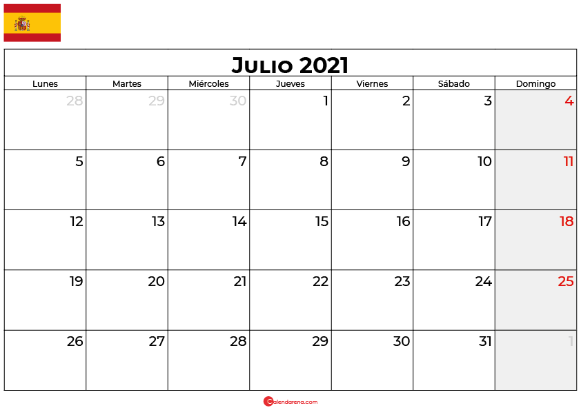 calendario julio 2021 espana
