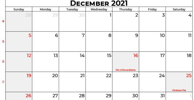 december 2021 calendar sa
