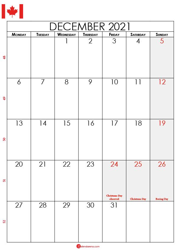 december calendar 2021 ca