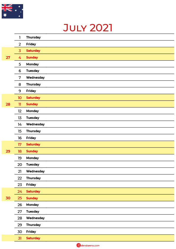 july 2021 printable calendar au