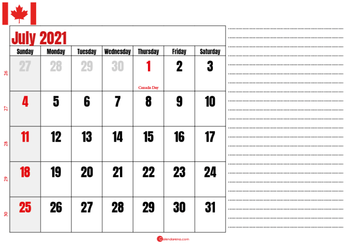july 2021 printable calendar ca