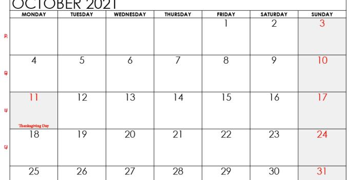 october 2021 calendar ca