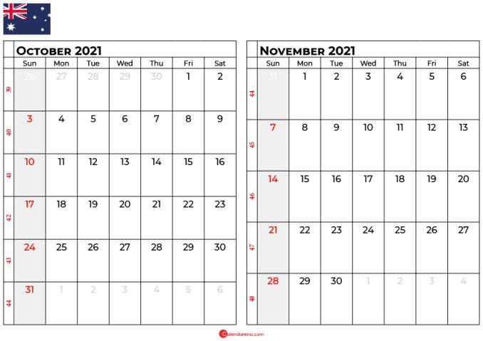 october and november 2021 calendar au