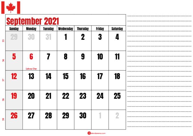 september 2021 printable calendar ca