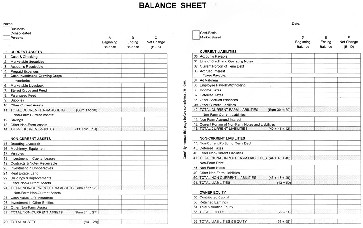 Mothly Bill Payment Balance Sheet Blank