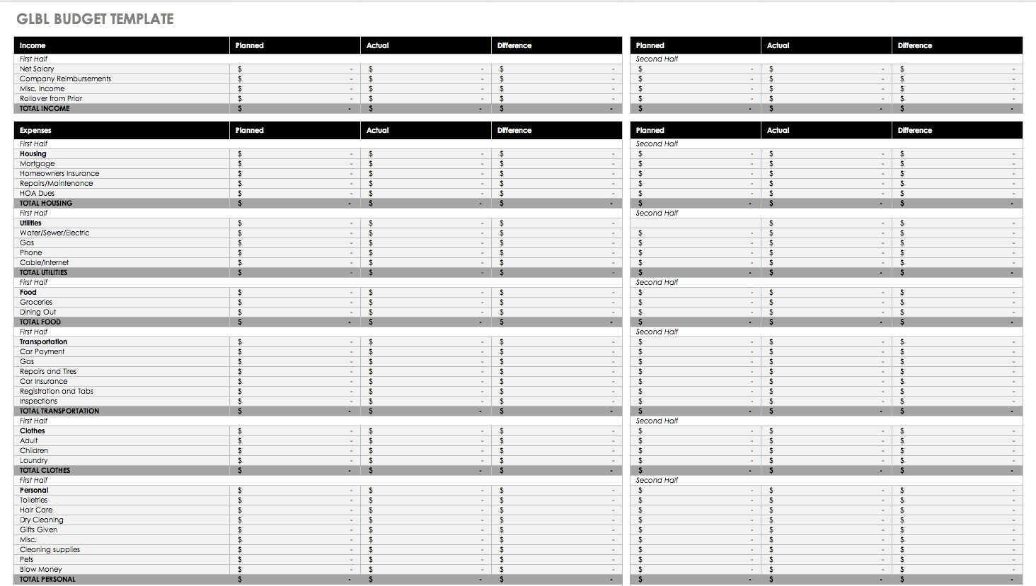Blank Monthly Budget Excel Spreadsheet