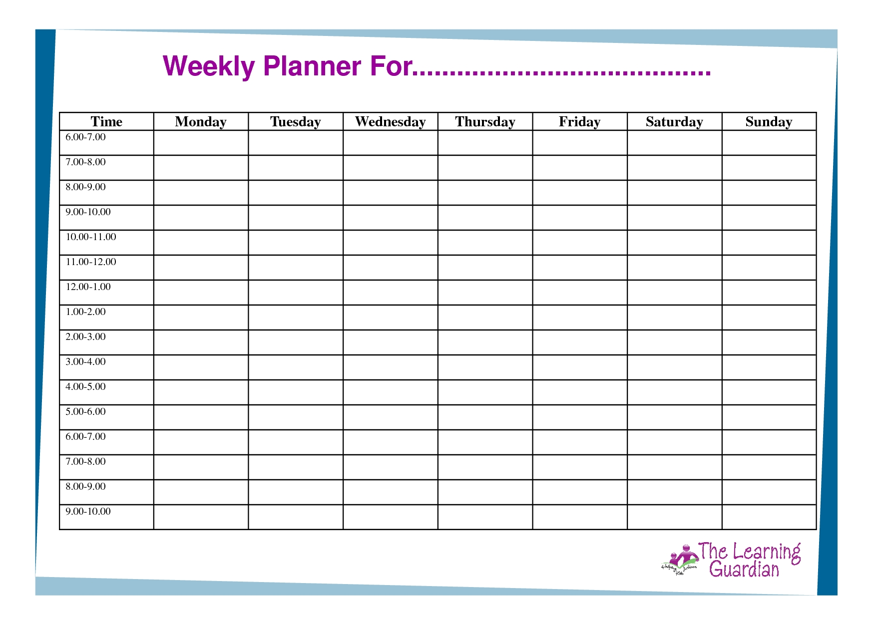 Blank Weekly Schedule With Times