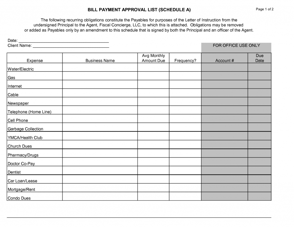 Printable Monthly Bill Payment Chart