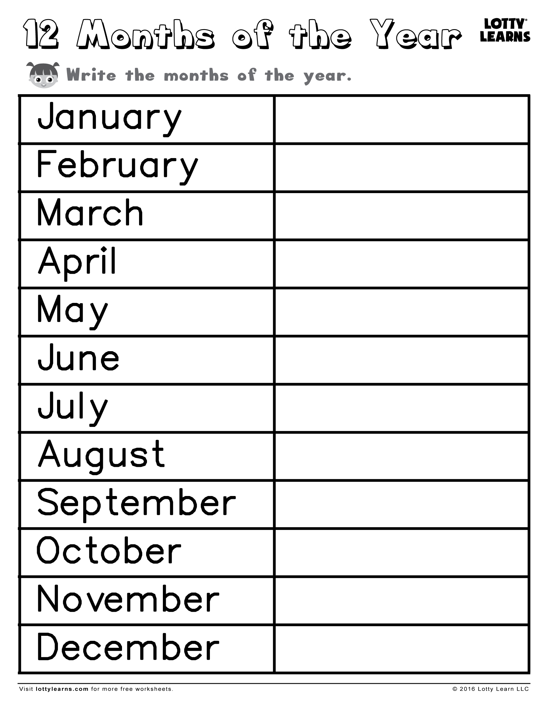 July December Writing Months Of The Year Worksheet