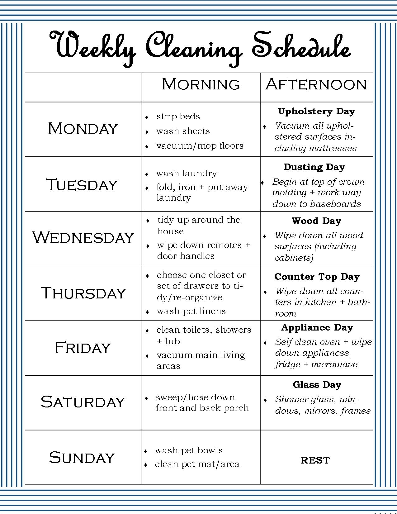 Monday Through Friday Cleaning Schedule