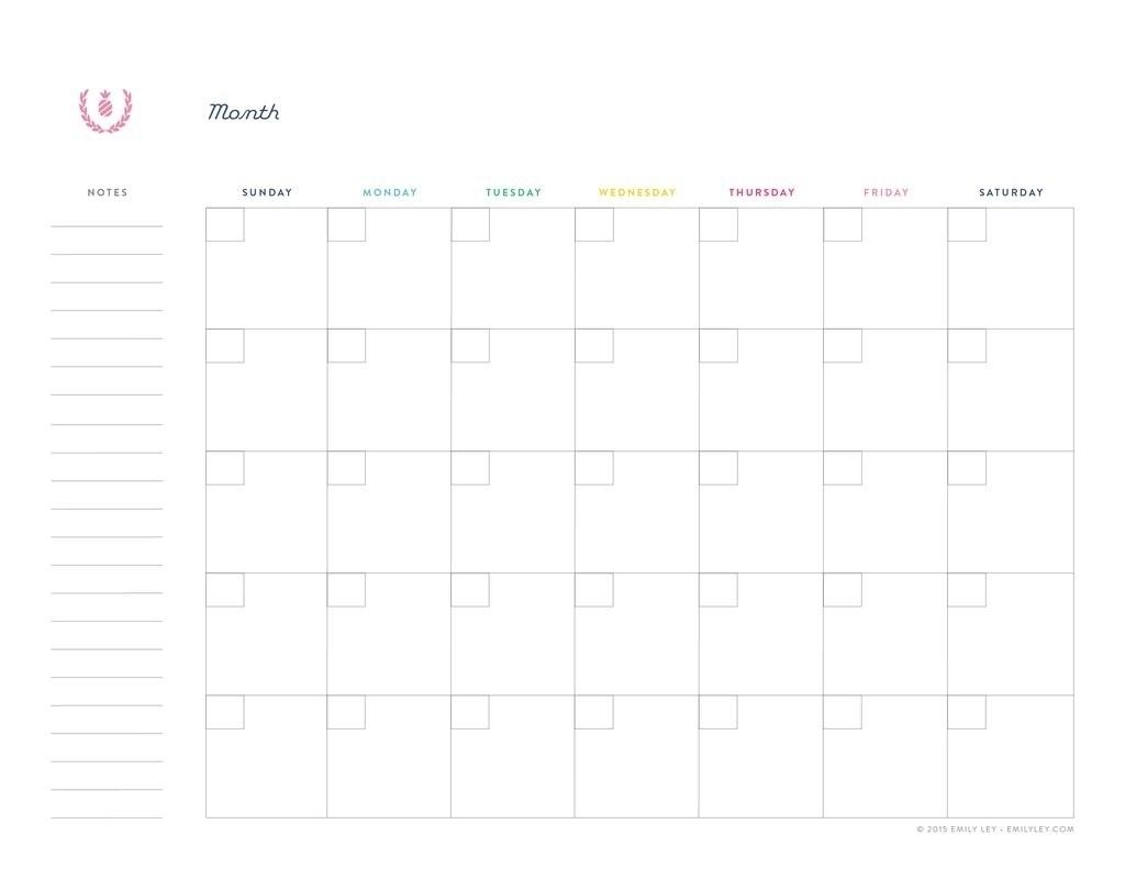Undated Printable Monthly Calendar Free