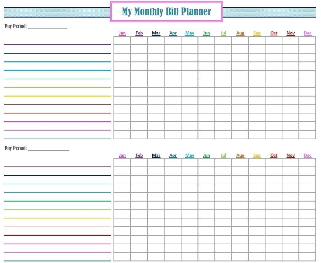 Bill Organizer Free Print Month Year