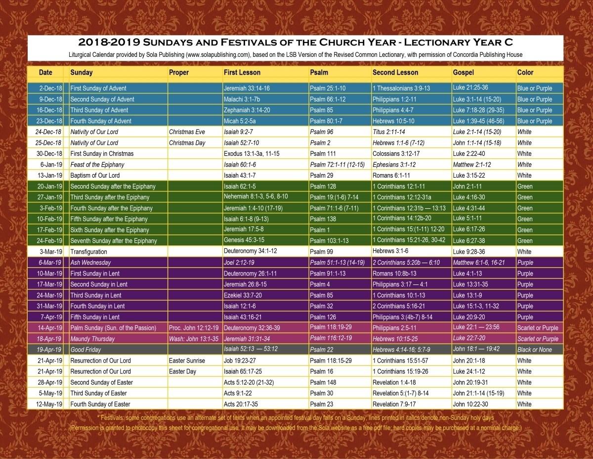 Free Liturgical Calendar Worksheets