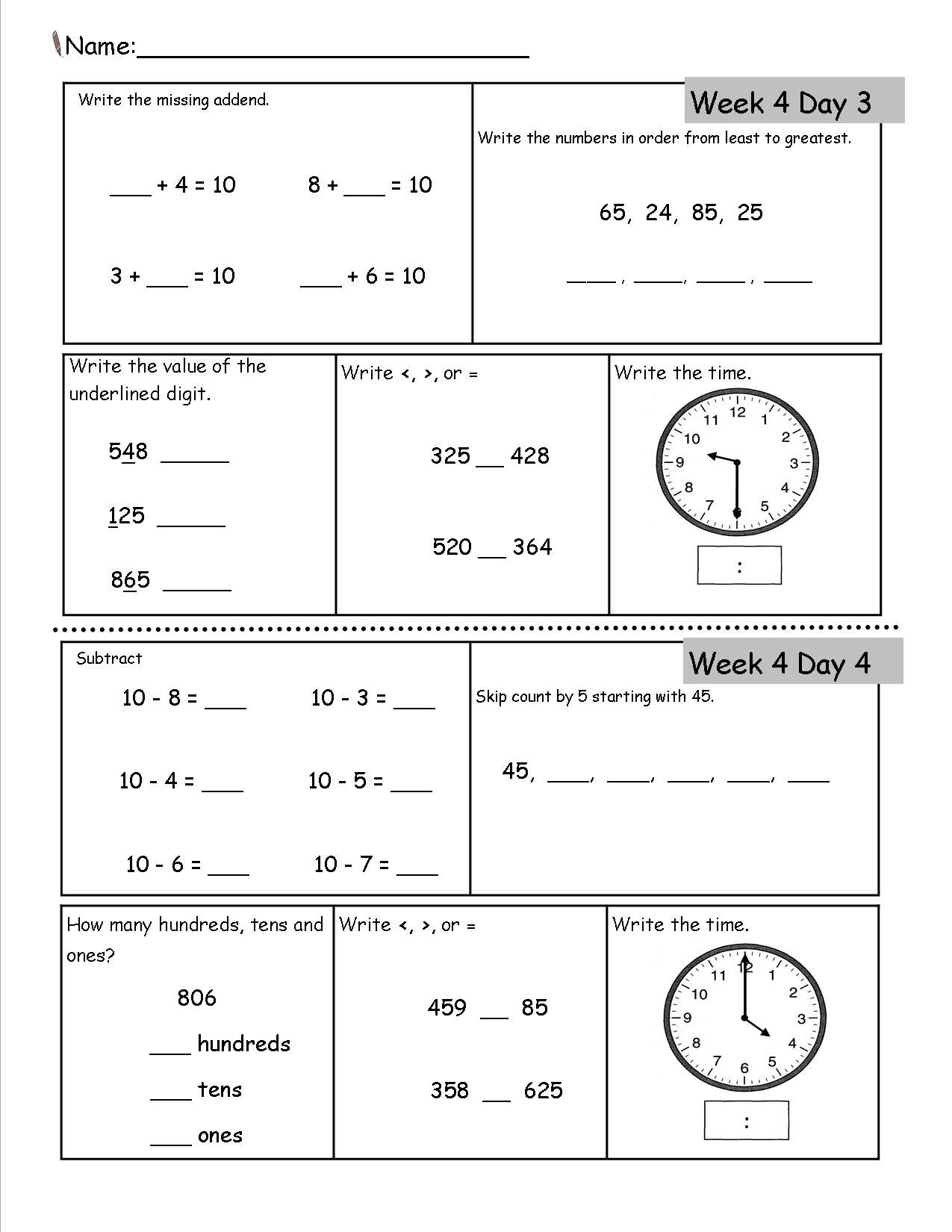 Year 4 Calendar Worksheets