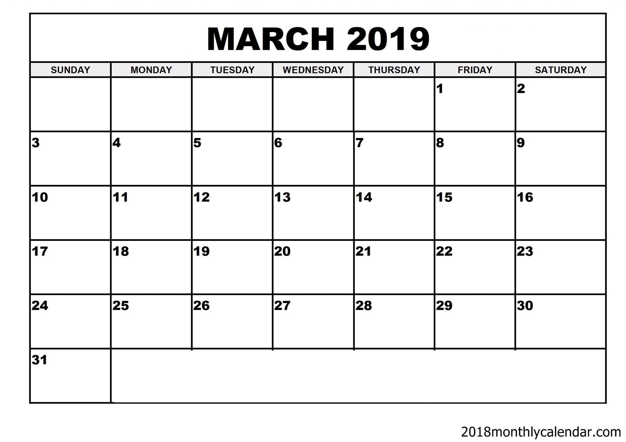 March Vertical Calendar